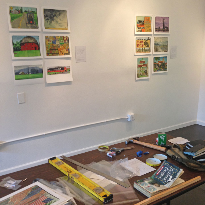 "Installation of ""Jaunt + Jot"" exhibition featuring sketchbook drawings by Chandler O'Leary"