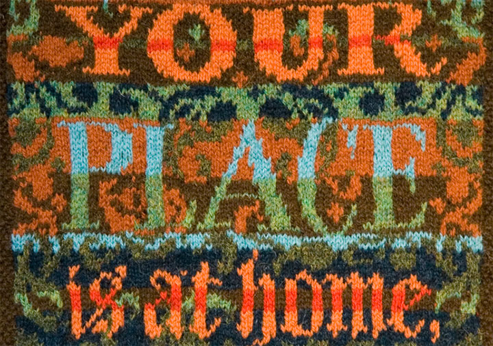 """Detail of """"Museum Quality"""" hand-knitted textile broadside by Chandler O'Leary"""