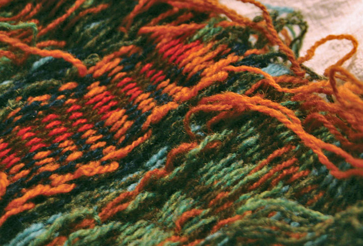 """Process photo of """"Museum Quality"""" hand-knitted textile broadside by Chandler O'Leary"""