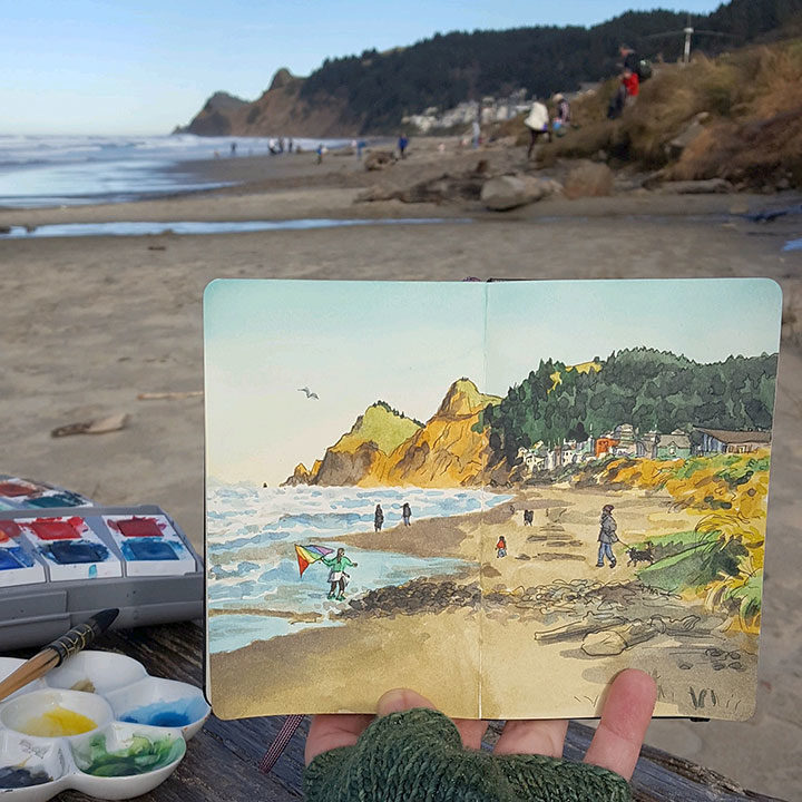 Lincoln City sketchbook illustration by Chandler O'Leary