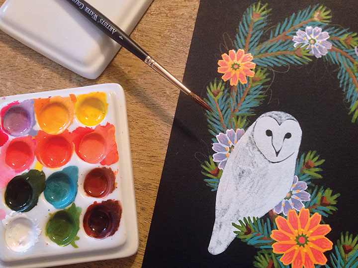 "Process photo of ""Love Birds"" illustration by Chandler O'Leary"