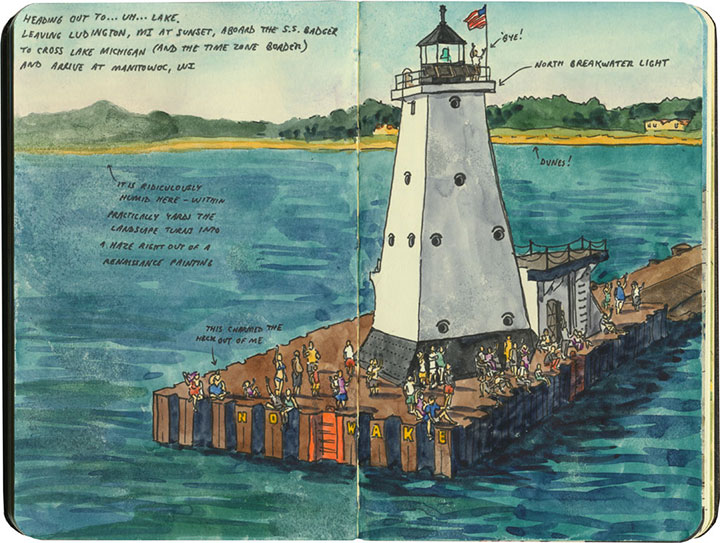 Ludington, MI lighthouse sketch by Chandler O'Leary
