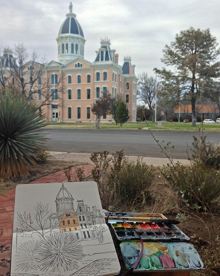 Marfa photo and sketch by Chandler O'Leary