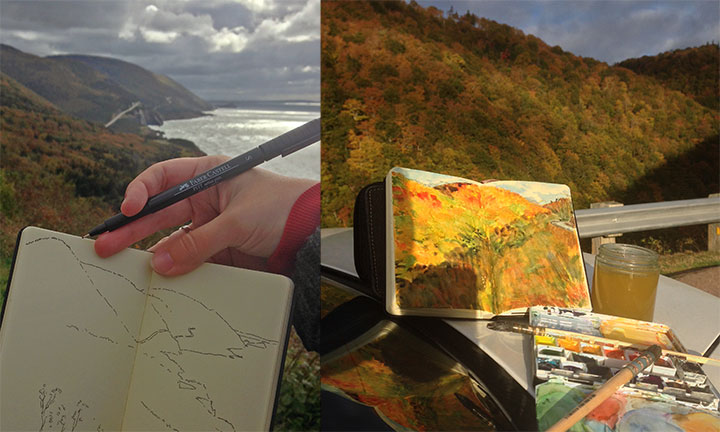 Cabot Trail sketches by Chandler O'Leary