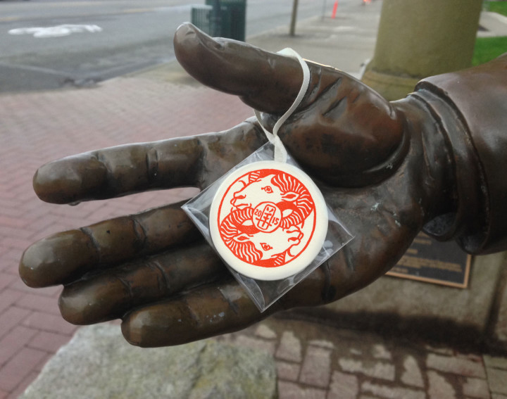 Monkeyshines medallion illustrated and printed by Chandler O'Leary