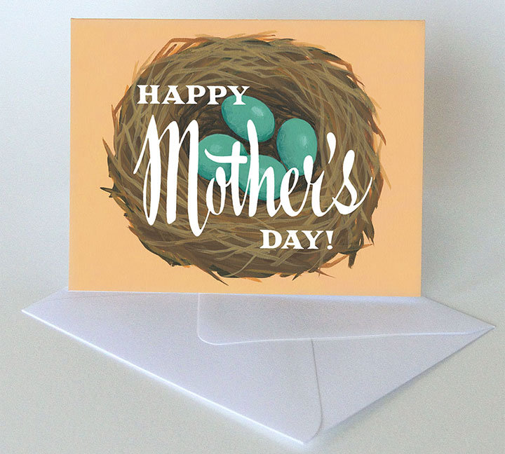Mother's Day nest card illustrated and hand-lettered by Chandler O'Leary