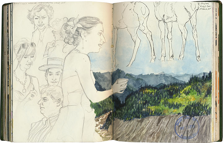 Mt. Rainier National Park and figure drawings sketch by Chandler O'Leary