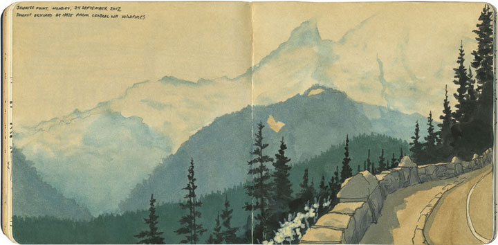 Mt. Rainier sketch by Chandler O'Leary