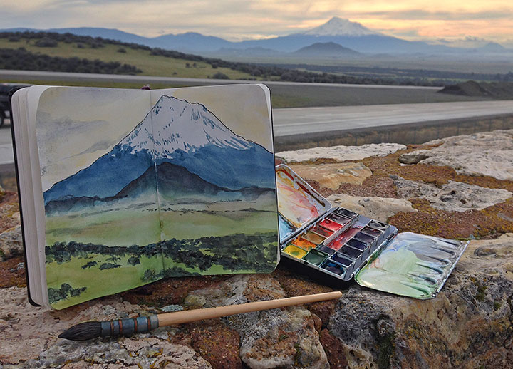 Mt. Shasta photo and sketch by Chandler O'Leary