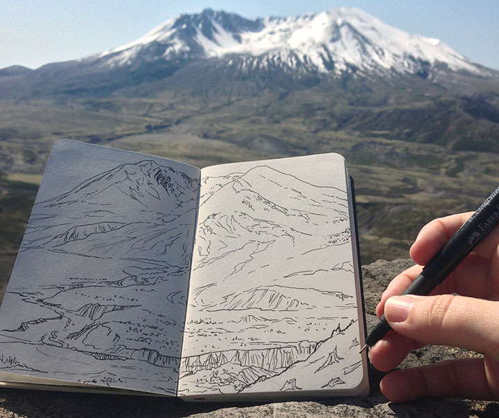 Mt. St. Helens sketchbook drawing by Chandler O'Leary