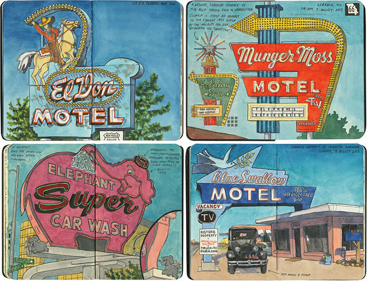 Neon sign sketchbook illustrations by Chandler O'Leary