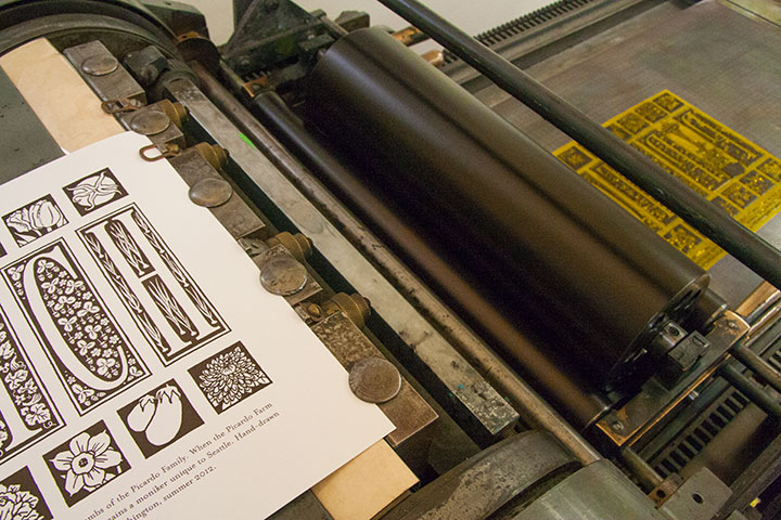 "Process photo of ""P-Patch"" letterpress broadside by Chandler O'Leary"