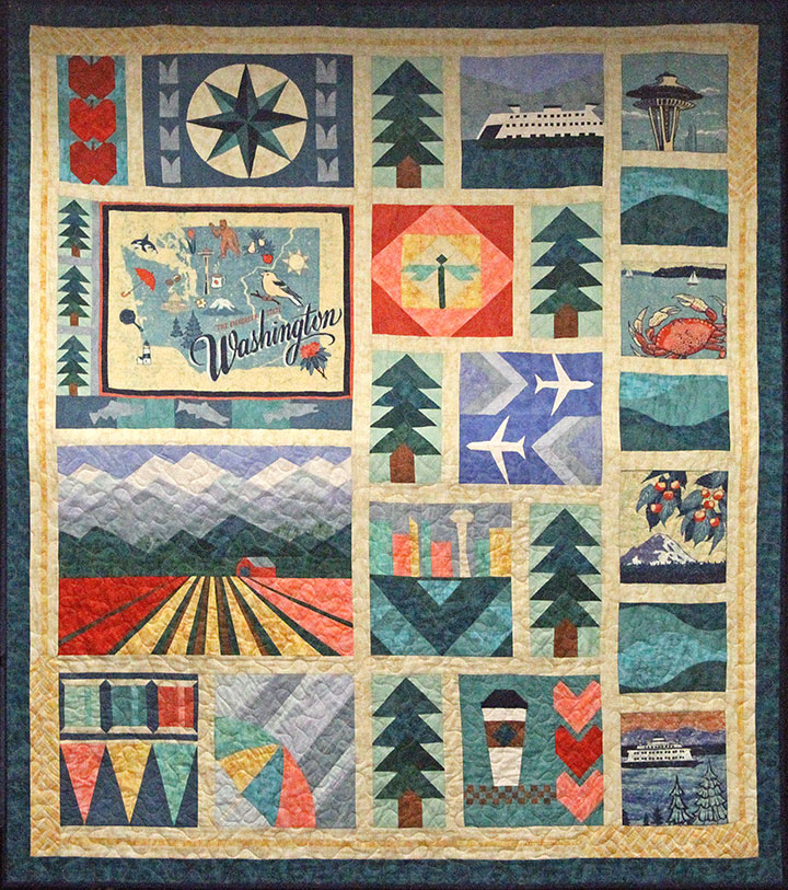 """Pacific Fabrics """"Evergreen State"""" quilt pattern, featuring fabric illustrated by Chandler O'Leary"""
