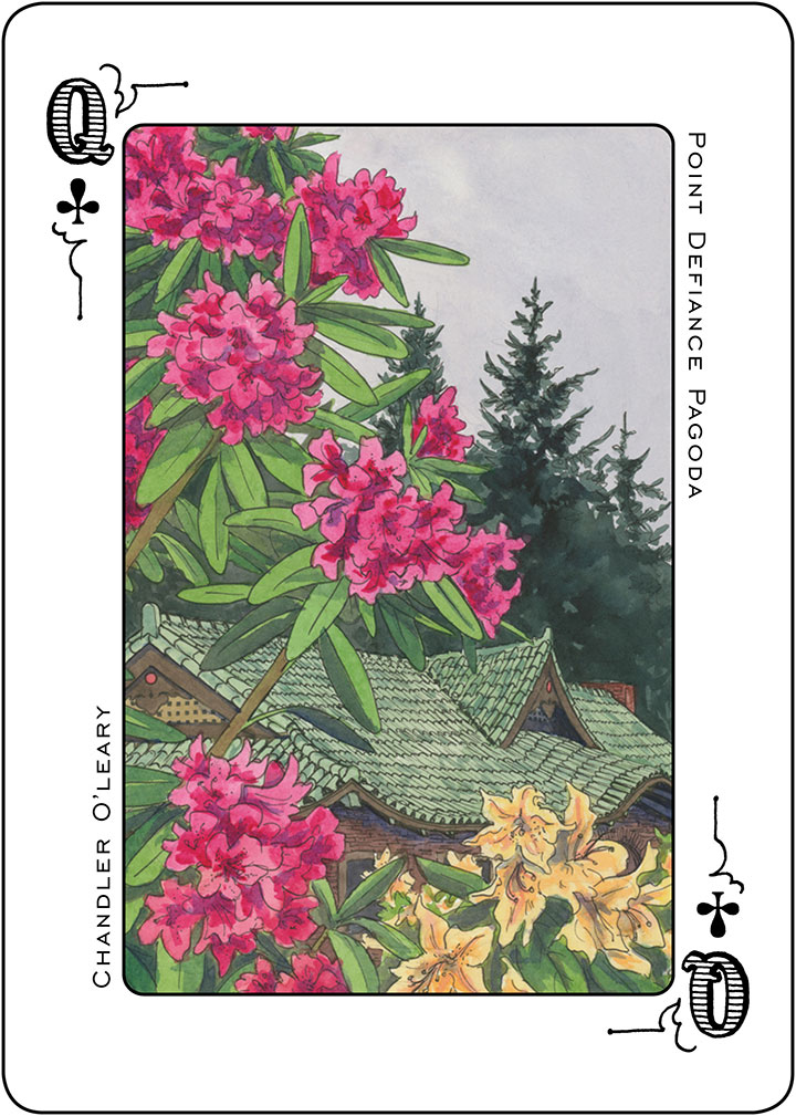 Pt. Defiance Pagoda illustration and Tacoma Playing Cards design by Chandler O'Leary