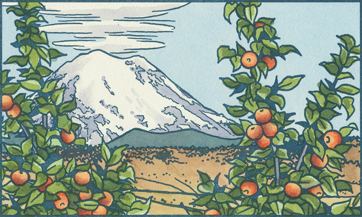 Mt. Rainier and Apple Orchard letterpress illustration by Chandler O'Leary