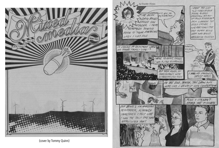 RISD Mixed Media newspaper featuring David Bowie comic by Chandler O'Leary