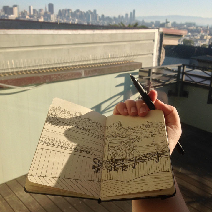 In-progress photo of San Francisco sketch by Chandler O'Leary