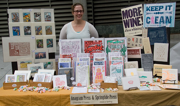 Anagram Press and Springtide Press table at 2011 Roadworks festival, San Francisco