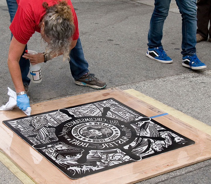 "Process photo of ""Even Keel"" steamroller print by Chandler O'Leary and Jessica Spring"