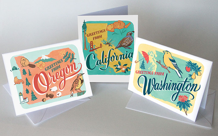 50 States cards illustrated and hand-lettered by Chandler O'Leary
