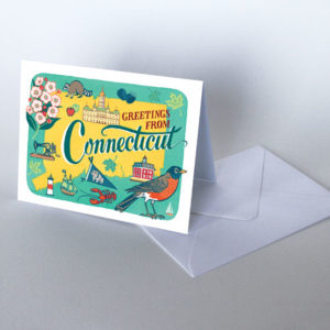 Connecticut card from the 50 States series illustrated and hand-lettered by Chandler O'Leary