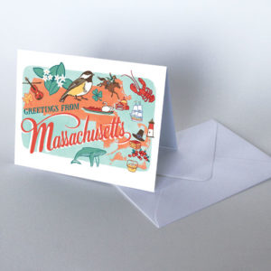 Massachusetts card from the 50 States series illustrated and hand-lettered by Chandler O'Leary