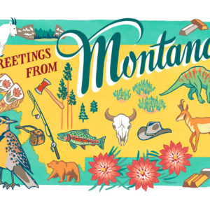 Montana card from the 50 States series illustrated and hand-lettered by Chandler O'Leary
