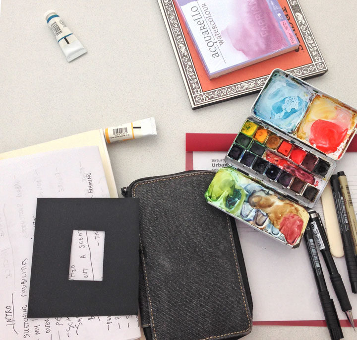 Materials for urban sketching workshop with Chandler O'Leary