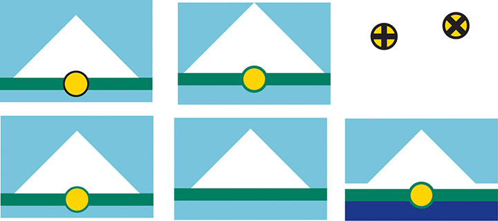 Process sketches for proposed flag design for the city of Tacoma, WA, designed by Chandler O'Leary