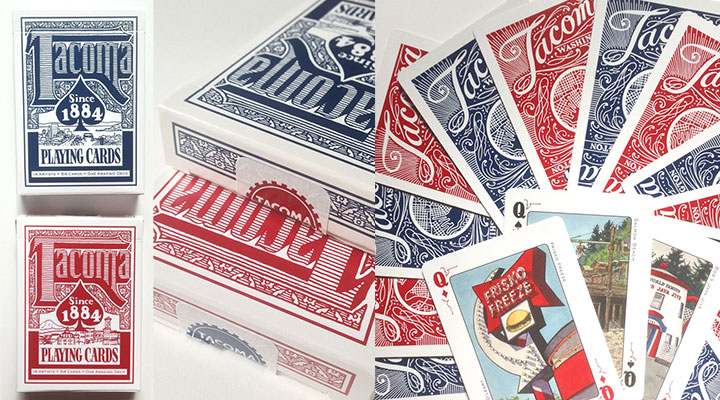 Tacoma Playing Cards lettered and illustrated by Chandler O'Leary