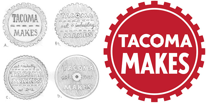 Tacoma Makes logo and concept illustrations by Chandler O'Leary
