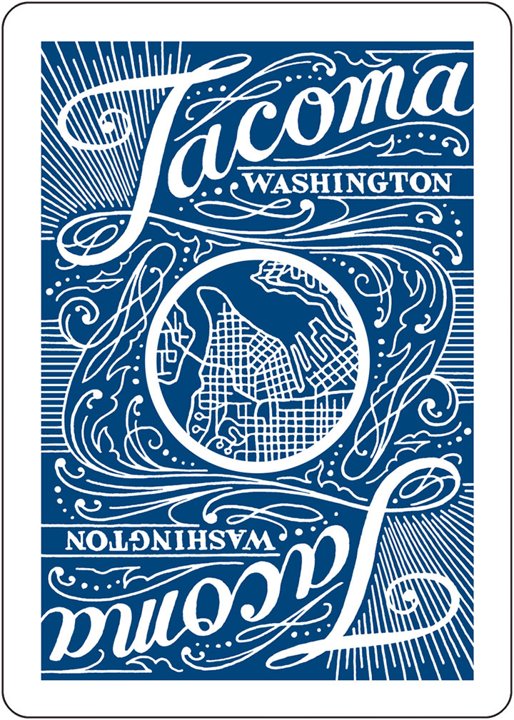 "Tacoma Playing Cards ""blue deck"" card back design by Chandler O'Leary"
