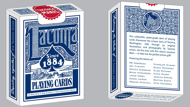 "Tacoma Playing Cards ""blue deck"" box design by Chandler O'Leary"