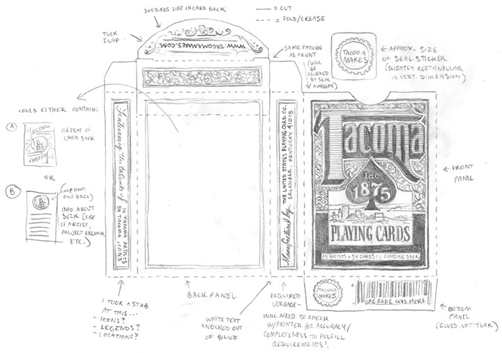 "Tacoma Playing Cards ""blue deck"" box design sketch by Chandler O'Leary"
