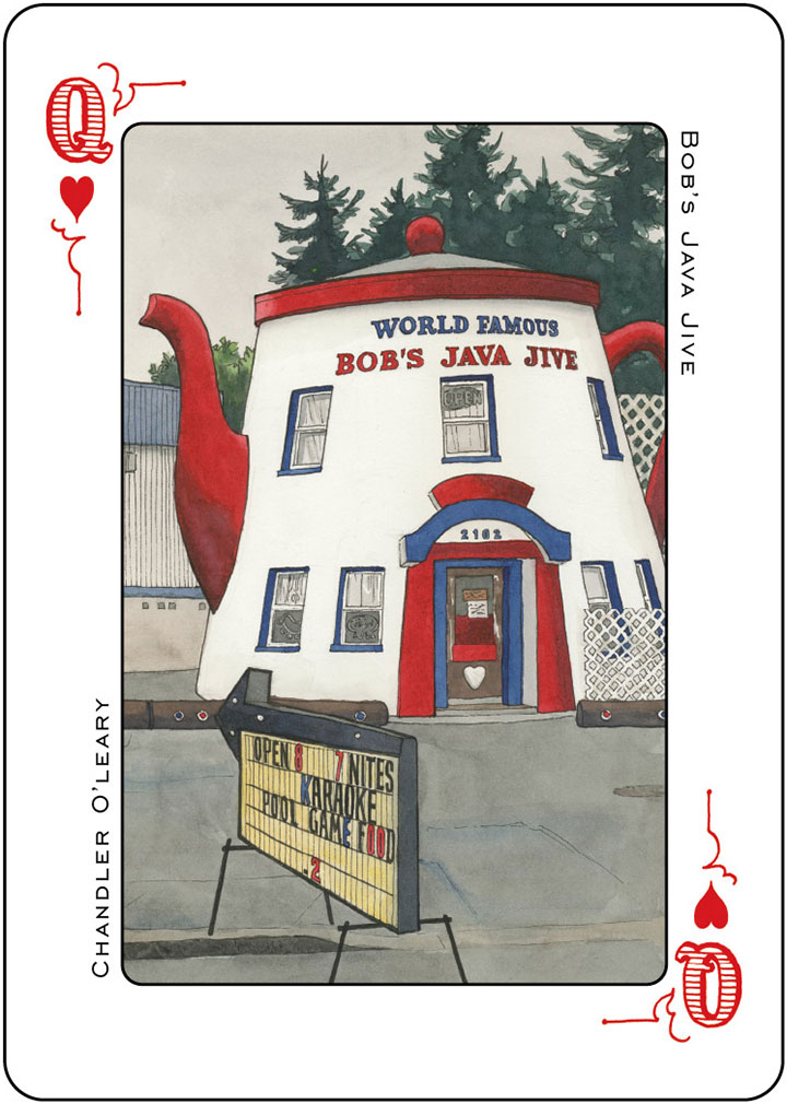 Bob's Java Jive illustration (for the Tacoma Playing Cards) by Chandler O'Leary