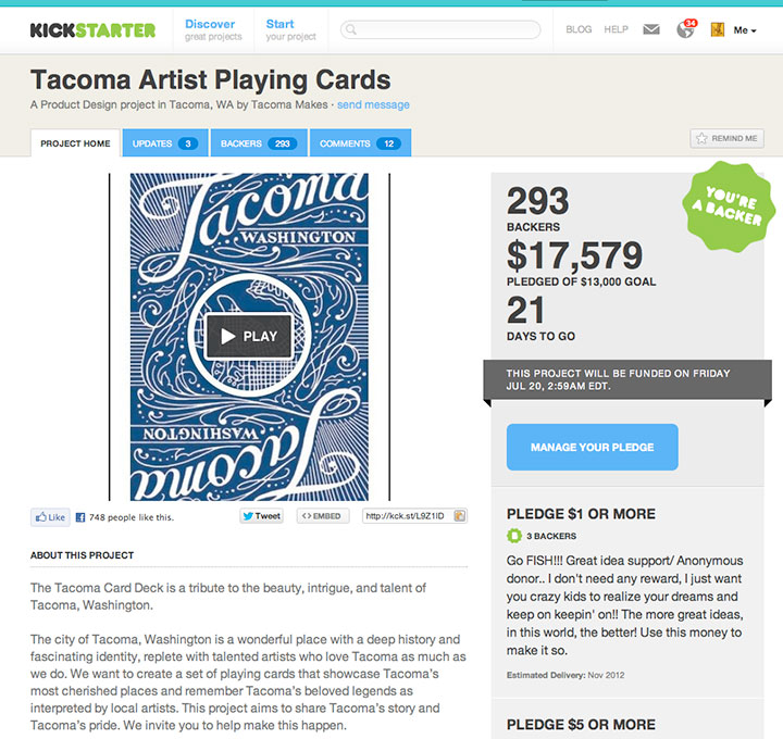 Tacoma Playing Cards successful Kickstarter campaign
