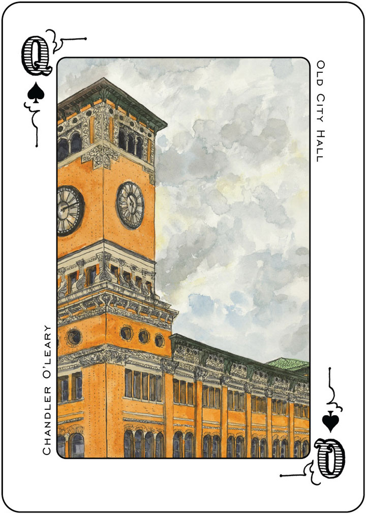 Old City Hall illustration (for the Tacoma Playing Cards) by Chandler O'Leary