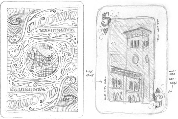 "Tacoma Playing Cards ""blue deck"" concept sketches by Chandler O'Leary"
