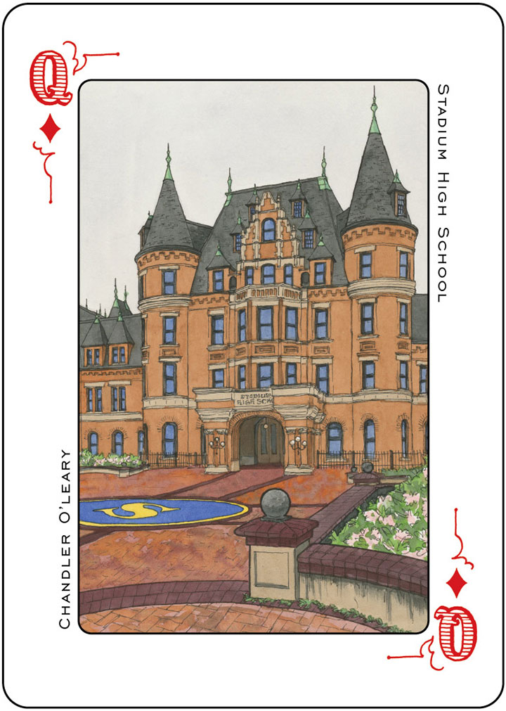Stadium High School illustration (for the Tacoma Playing Cards) by Chandler O'Leary