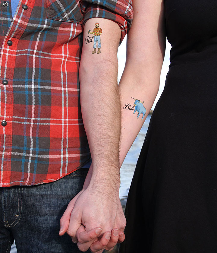 """Paul & Babe"" temporary tattoos illustrated and hand-lettered by Chandler O'Leary"