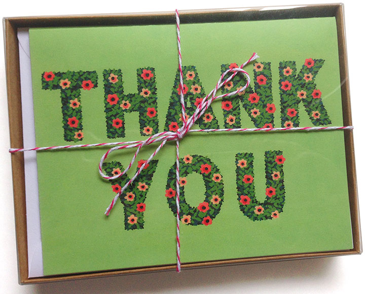 """Hand-lettered """"Hedge"""" thank-you cards by Chandler O'Leary"""