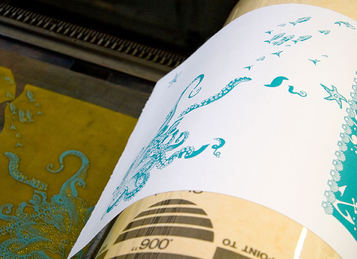 "Printing process photo of ""Tugboat Thea"" letterpress broadside by Chandler O'Leary and Jessica Spring"