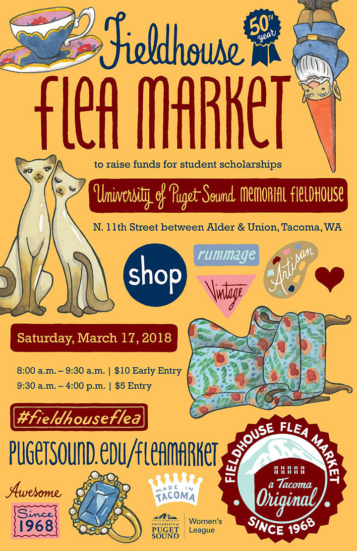 2018 UPS Flea Market poster illustrated and designed by Chandler O'Leary