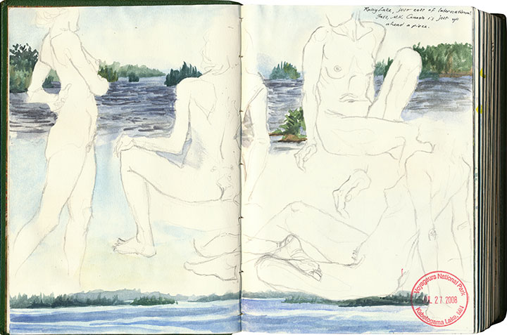 Voyageurs National Park and figure drawings sketch by Chandler O'Leary