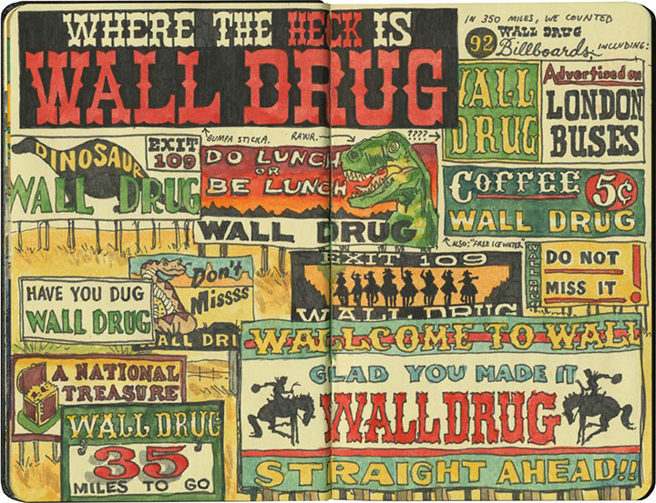 Wall Drug billboards sketch by Chandler O'Leary