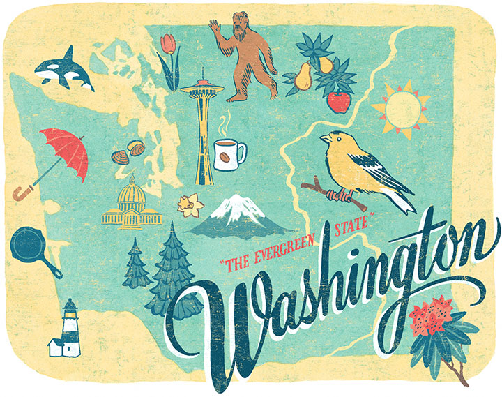 Washington State illustration by Chandler O'Leary
