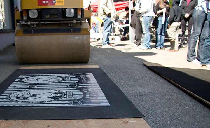 "Process photo of ""Lucy Goosey"" steamroller print by Chandler O'Leary and Jessica Spring"