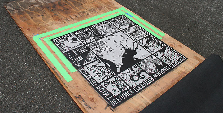 "Linoleum block for ""Park Place"" steamroller print by Chandler O'Leary and Jessica Spring"