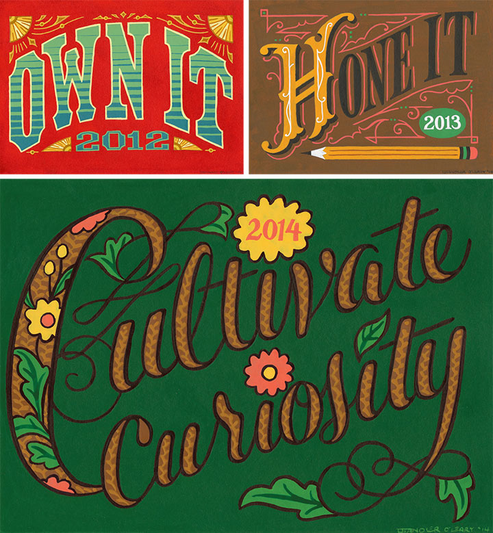 Hand-lettered mottos by Chandler O'Leary