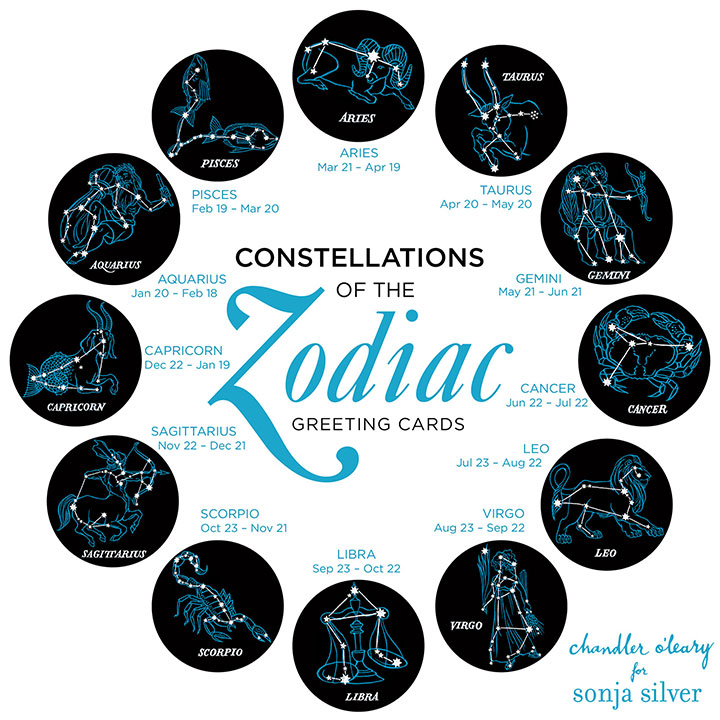 Constellations of the Zodiac greeting cards illustrated by Chandler O'Leary